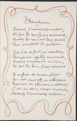 Rondeau/ Dedans l'amoureuse cuisine,...on page 83 , third image of four on twenty-first folded sheet in the unbound book Poèmes de Charles d'Orléans (Paris: Tériade éditeur, 1950)