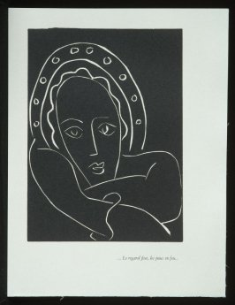 """... Le regard fixe, les joues en feu ..."", pg. 55, in the book Pasiphaé: Chant de Minos (Les Crétois) by H. de Montherlant (Paris: Martin Fabiani, 1944)."