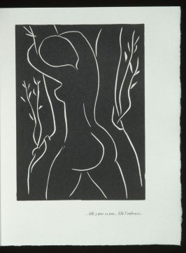 """... Elle y pose sa joue... Elle l'embrasse ..."", pg. 59, in the book Pasiphaé: Chant de Minos (Les Crétois) by H. de Montherlant (Paris: Martin Fabiani, 1944)."