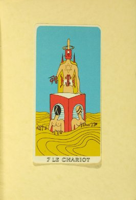 """7 LE CHARIOT,"" between pgs. 144 and 145, in the book Arcane 17 by André Breton (New York: Brentano's, 1944)"