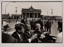 John F. Kennedy, Brandenburg Gate, Berlin, Germany in open car with Willy Brandt & Konrad Adenauer
