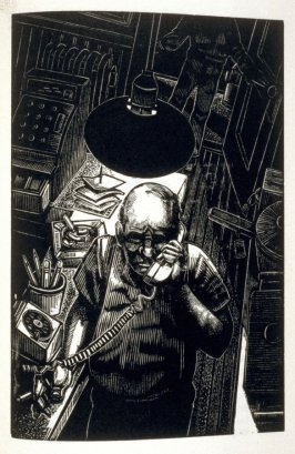 Untitled (Don on the phone), third plate in the book American Buffalo, a play by David Mamet (San Francisco: Arion Press, 1992)