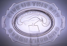 Bread tray with Lord's Prayer and wheat sheaves on handle