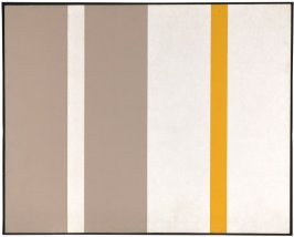 Untitled (white, yellow, and sand vertical stripes)