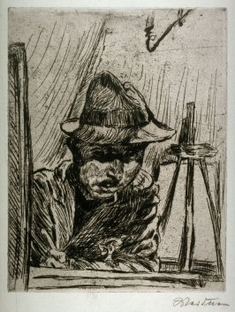 Self-Portrait wearing a hat while drawing