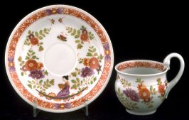 Cup and saucer with floral designs