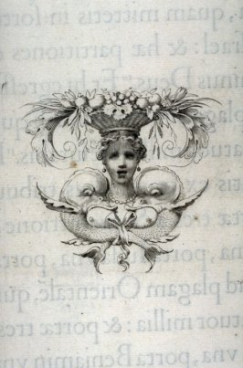 Tail-piece from a book: A Woman's Head supporting a Basket of Fruit and Flowers