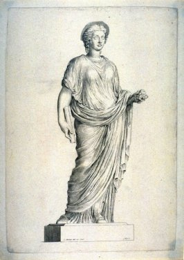 Female figure standing in draped gown classic sculpture