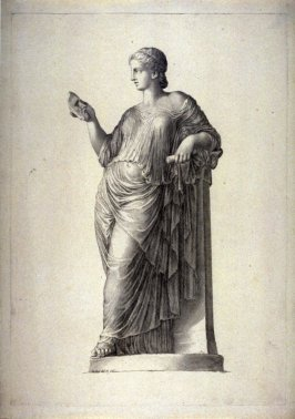 Female figure standing, holding mask of man in right hand classic sculpture