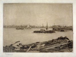 Harbor with ships and wharfs