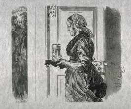 [Woman carrying a glass on a tray]