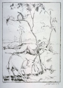 One of 12 Etchings of Animals: [Sheep]