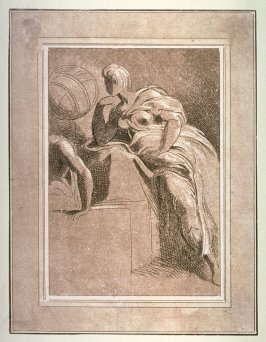 Classical figure reclining and examining a globe