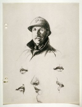 Sheet of Studies: French Army Captain, Details of Woman's Face
