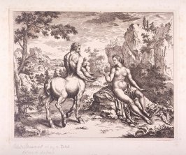 Mythological scene Centaur and Goddess