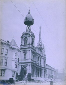 St. Dominic's Church with destroyed steeple (San Francisco earthquake series no. 13)