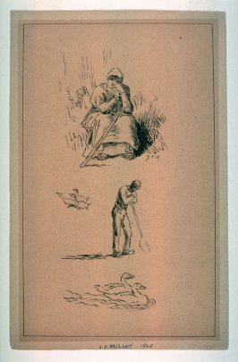 Sheet of Sketches: Seated Peasant Woman, Man with Hoe, Ducks