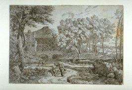 Landscape with a Flock of Sheep by a River