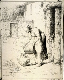 Femme vidant un Seau (Woman Emptying a Bucket)