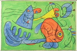 """""""Le sommeil du Père Ubu,"""" plate XII, between pgs. 108 and 109, in the book Ubu roi by Alfred Jarry (Paris: Tériade Éditeur, 1966)"""