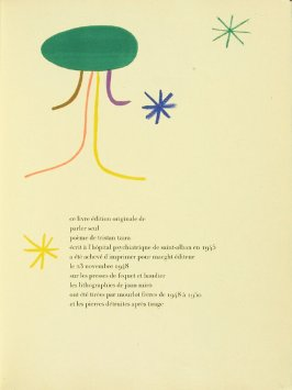 Colophon page, in the book Parler seul by Tristan Tzara (Paris: Adrien Maeght, 1948-50)