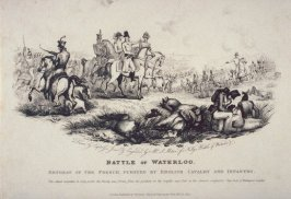 Battle of Waterloo.Retreat of the French,Pursued by English Cavalry and Infantry.
