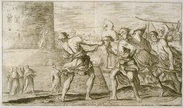 The Trojans Taking Sinon Prisoner, plate 1 of L'Enea Vagante Pitture dei Caracci (Wanderings of Aeneas Painted by the Carracci), from of a set of twenty prints after the paintings by Ludovico, Annibale, and Agostino Carracci in the Palazzo Fava, Bologna