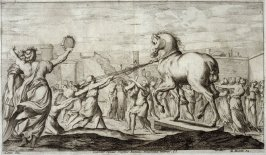 The Wooden Horse entering Troy, plate 2 of L'Enea Vagante Pitture dei Caracci (Wanderings of Aeneas Painted by the Carracci), from of a set of twenty prints after the paintings by Ludovico, Annibale, and Agostino Carracci in the Palazzo Fava, Bologna
