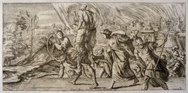 Aeneas and his Family Fleeing Troy, plate 6 of L'Enea Vagante Pitture dei Caracci (Wanderings of Aeneas Painted by the Carracci), from of a set of twenty prints after the paintings by Ludovico, Annibale, and Agostino Carracci in the Palazzo Fava, Bologna