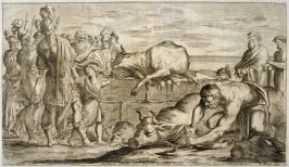 The Trojans Sacrifice Bulls to Neptune, plate 9 of L'Enea Vagante Pitture dei Caracci (Wanderings of Aeneas Painted by the Carracci), from of a set of twenty prints after the paintings by Ludovico, Annibale, and Agostino Carracci in the Palazzo Fava, Bolo
