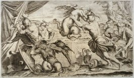 Aeneas and his Companions Combat the Harpies, plate 10 of L'Enea Vagante Pitture dei Caracci (Wanderings of Aeneas Painted by the Carracci), from of a set of twenty prints after the paintings by Ludovico, Annibale, and Agostino Carracci in the Palazzo Fav