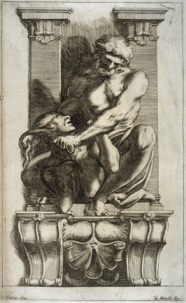 Man Subduing a Harpy, one of eight unnumbered plates of L'Enea Vagante Pitture dei Caracci (Wanderings of Aeneas Painted by the Carracci), from a set of twenty prints after the paintings by Ludovico, Annibale, and Agostino Carracci in the Palazzo Fava, Bo