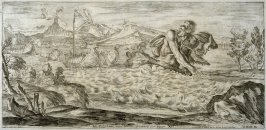 Polyphemus pursuing Aeneas' Fleet, plate12 of L'Enea Vagante Pitture dei Caracci (Wanderings of Aeneas Painted by the Carracci), from of a set of twenty prints after the paintings by Ludovico, Annibale, and Agostino Carracci in the Palazzo Fava, Bologna