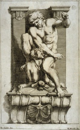 Man Subduing a Harpy, one of eight unnumbered plates of L'Enea Vagante Pitture dei Caracci (Wanderings of Aeneas Painted by the Carracci), from of a set of twenty prints after the paintings by Ludovico, Annibale, and Agostino Carracci in the Palazzo Fava,