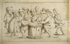 Giocatori smafaroni (Gamesters), from an unnumbered set of twelve caricatures engraved by Giuseppe Maria Mitelli after Pietro de Rossi's drawings