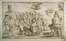 Conversacione considerabile (A Lot of Talking), from an unnumbered set of twelve caricatures engraved by Giuseppe Maria Mitelli after Pietro de Rossi's drawings