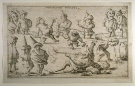 Uberiaconi fumanti (Totally Drunk[not a literal translation]), from an unnumbered set of twelve caricatures engraved by Giuseppe Maria Mitelli after Pietro de Rossi's drawings