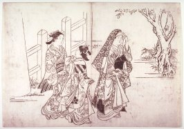 Three Women Leaving a Shrine, page from an untitled series of scenes from daily life