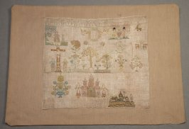 Sampler: Christ on cross, with two castles