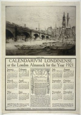 London Bridge from the Calendarium Londinense or the London Almanack for the Year 1921