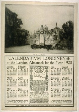 The Cenotaph Whitehall from the Calendarium Londinense or the London Almanack for the Year 1920