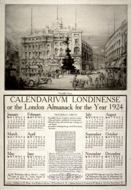 Piccadilly Circus from the Calendarium Londinense or the London Almanack for the Year 1924
