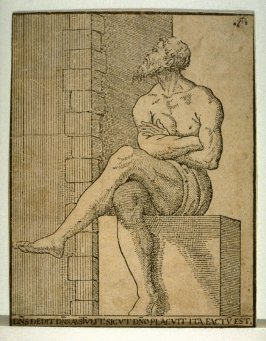 A Pensive Man Sitting on a Stone Bench