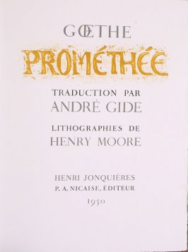 """Prométhée,"" title page, in the book Prométhée by Goethe (translation by André Gide) (Paris: Nicaise Editeur, 1951)"
