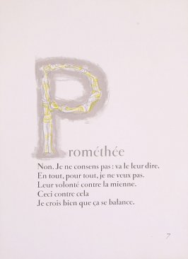 """Capital letter P,"" pg. 7, in the book Prométhée by Goethe (translation by André Gide) (Paris: Nicaise Editeur, 1951)"