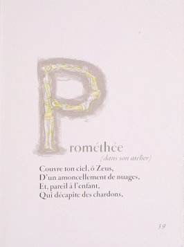 """Capital Letter P,"" pg. 59, in the book Prométhée by Goethe (translation by André Gide) (Paris: Nicaise Editeur, 1951"