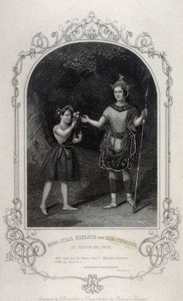 Miss Julia Harland and Miss Conquest as Oberon and Puck in Midsummer Night's Dream