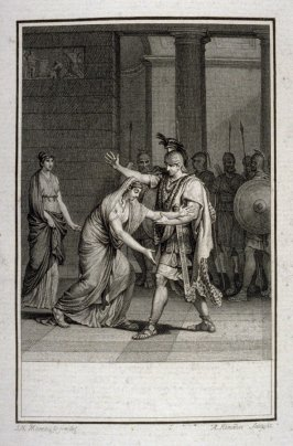 Proof before the title of: Seigneur, à vos genoux je tombe, sans rougir - Illlustration to work of Voltaire (Sophonisbe, Act II, Sc.5)