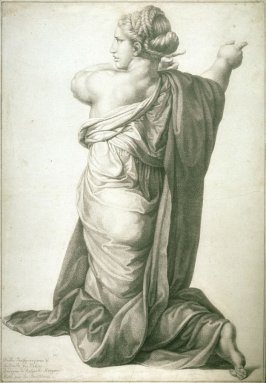 Kneeling Woman, study for the engraving after the painting, The Transfiguration by Raphael