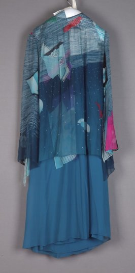 Three-piece evening dress(dress, overblouse, sash)